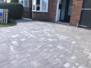 finished cobblestone driveway